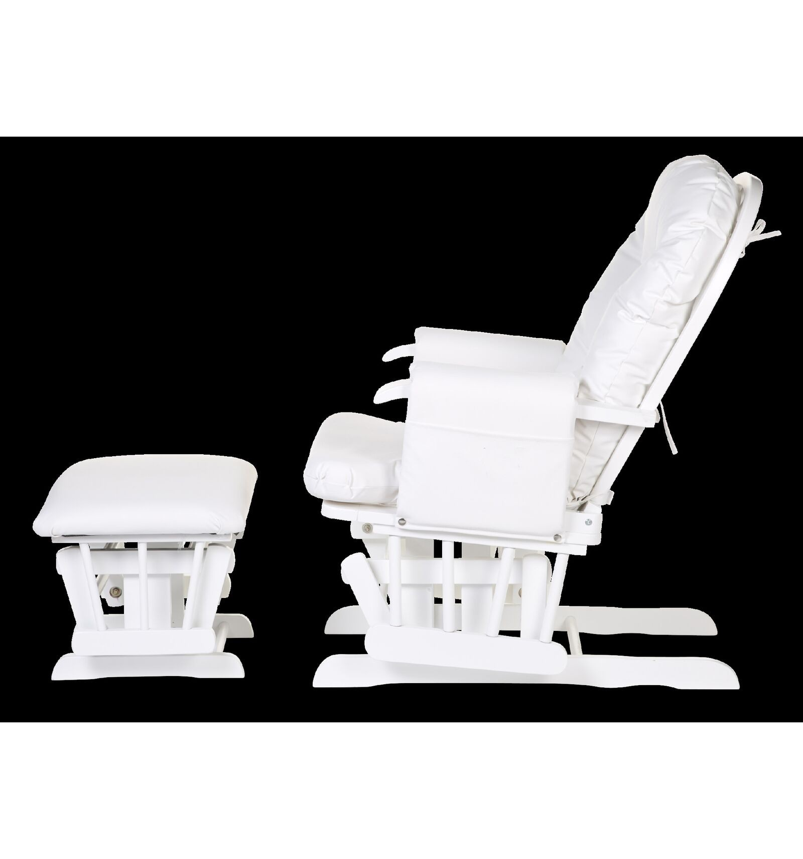 Gliding Chair Round Beech Canvas White With Footrest - Bumble Bee ...